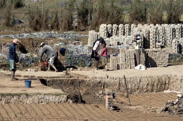 fabrique familiale de briques dans les rizières plus lucratif que la culture du riz