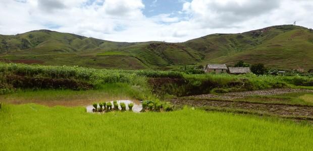 Village Sahora au pied du massif Tsaranonenana